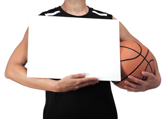 basketball player holding a white billboard