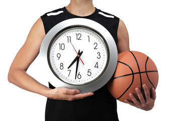 basketball player holding a clock