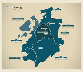 Moderne Landkarte - Fribourg CH