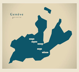 Moderne Landkarte - Genf CH