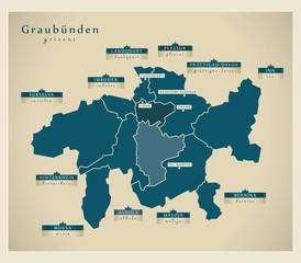 Moderne Landkarte - Graubünden CH