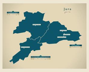 Moderne Landkarte - Jura CH