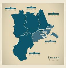Moderne Landkarte - Luzern CH