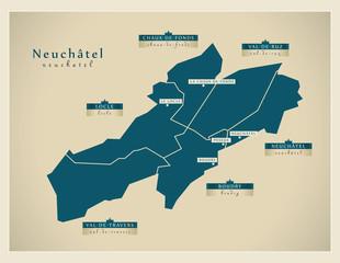 Moderne Landkarte - Neuchâtel CH