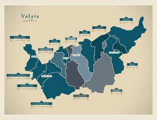 Moderne Landkarte - Valais CH