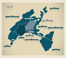 Moderne Landkarte - Vaud CH