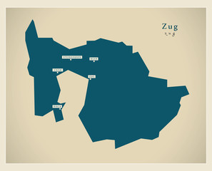 Moderne Landkarte - Zug CH