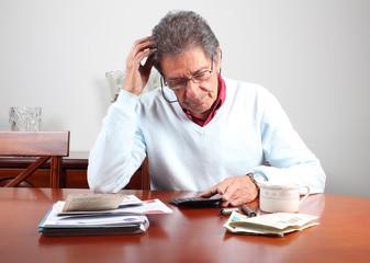 Worried senior man with debs