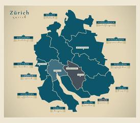 Moderne Landkarte - Zürich CH