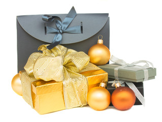 pile of  gift boxes with christmas decorations