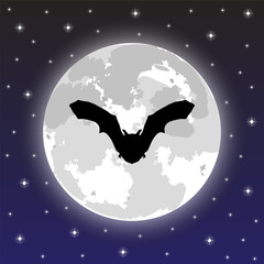 silhouette bat on background of the full moon