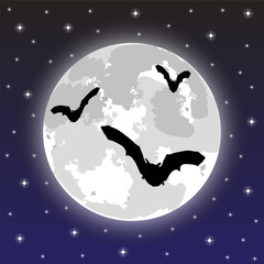 bats on the background of the full moon