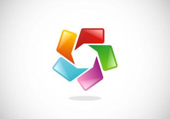 circle speech talk color logo