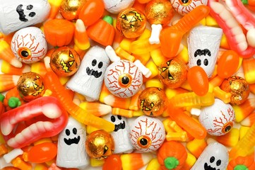 Halloween background of mixed candies