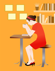 A woman reading and drinking coffee at a cozy cafe