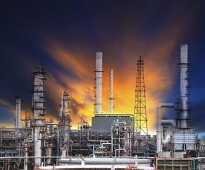 oil refinery plant in heavy industry estate against beautiful du