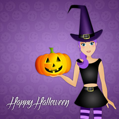 Witch with pumpkin for Halloween