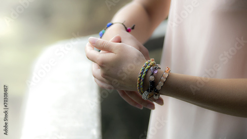 canvas print picture Girl hands with jewelry