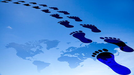 foot prints around the earth