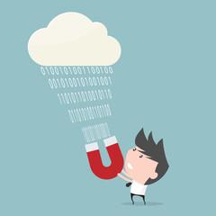 Businessman pull data of cloud computing.