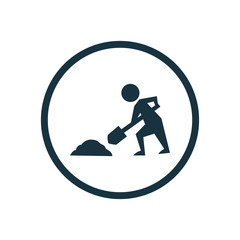 construction works circle background icon.