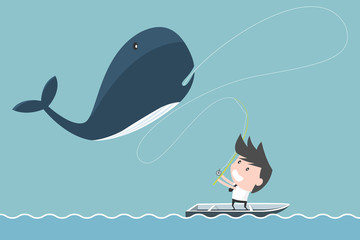 Big whale of businessman fishing. success concept.