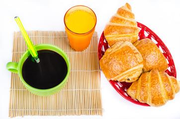 Petit déjeuner, café, croissant