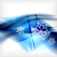 Blue Christmas blurred waves and snowflakes