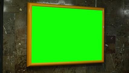 notice board (panel) - green screen - in subway
