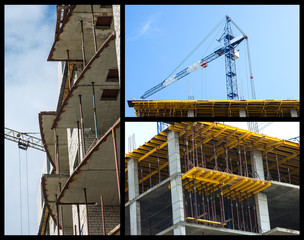 Construction of buildings collage