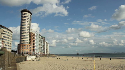 View of the beach of a small Dutch town Vlissingen.