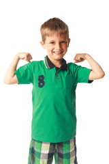 Little boy showing biceps isolated on white