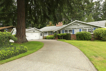 House with driveway and landscape