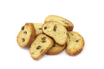 some sweet biscuits with raisins on a white background