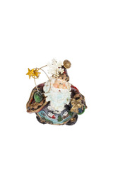 ceramic figurine of santa claus isolated on white background