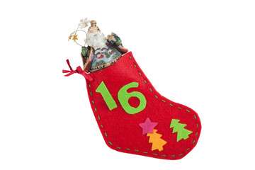 Christmas stocking with a gift isolated on white background