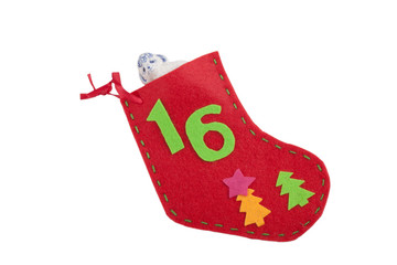 Christmas sock with gift lamb isolated on white background