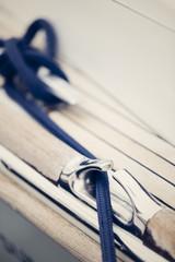 sailing ship fixing his rope