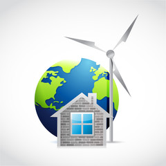 eco home and windmill illustration design