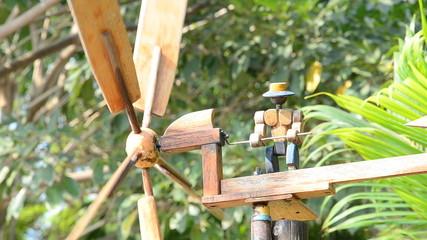 Wood windmill toy. HD