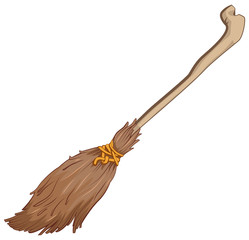 Old broom. Illustration isolated in vector format
