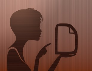 noble woman silhouette with document