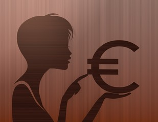 noble woman silhouette with Euro