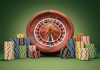 Roulette wheel chips. Clipping path included.