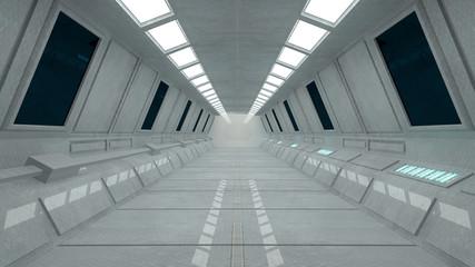 Futuristic corridor interior