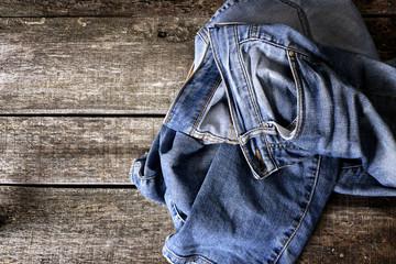 Dirty jeans on floor