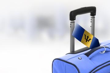 Destination Barbados. Blue suitcase with flag.