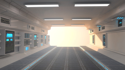 Futuristic corridor interior and sunset