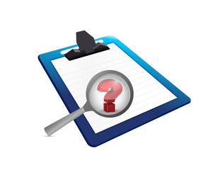 question mark search and clipboard. illustration