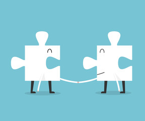 Jigsaw handshake cartoon. success concept.